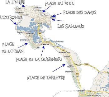 Noirmoutiers, carte des plages