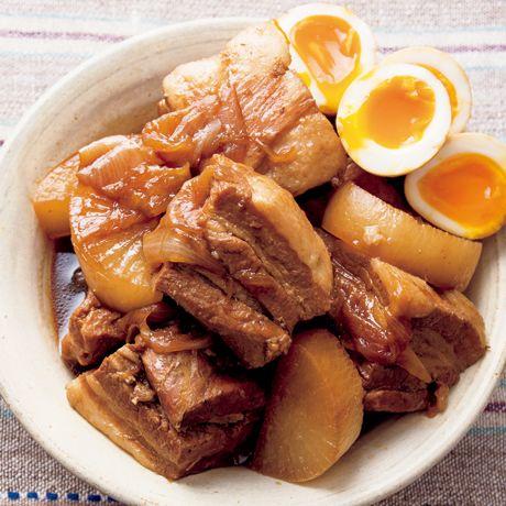 レタスクラブの簡単料理レシピ お約束の半熟卵と大根も一緒に「とろとろ豚玉角煮」のレシピです。