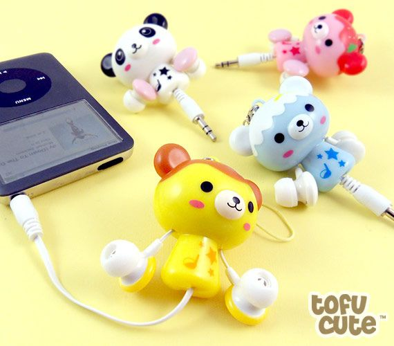 Sweet Bear Retractable Earphones: I have no reason to own a thing like this but I want it so bad.