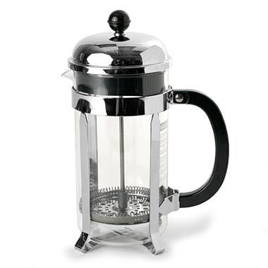 A French press requires coffee of a coarser grind. Coffee is brewed by placing the ground coffee in the empty beaker and adding hot (93-96 degrees Celsius, 200-205 degrees Fahrenheit) water, in propor