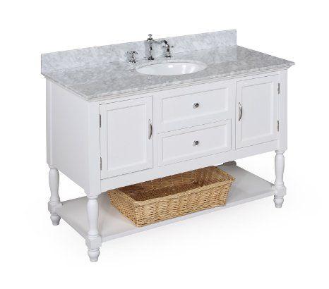 beverly 48 inch bathroom vanity carrera white includes