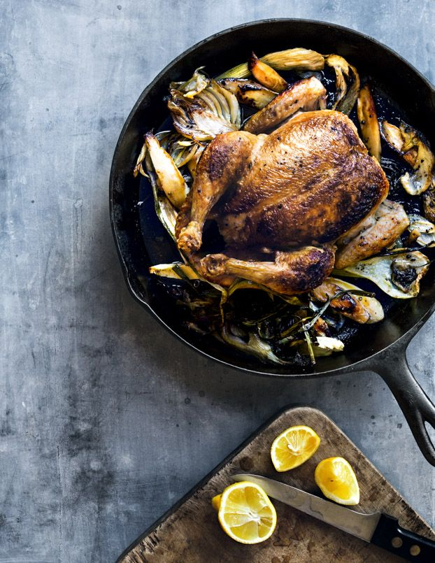 Skillet Roast Chicken with Fennel, Parsnips, Scallions and Lemon:
