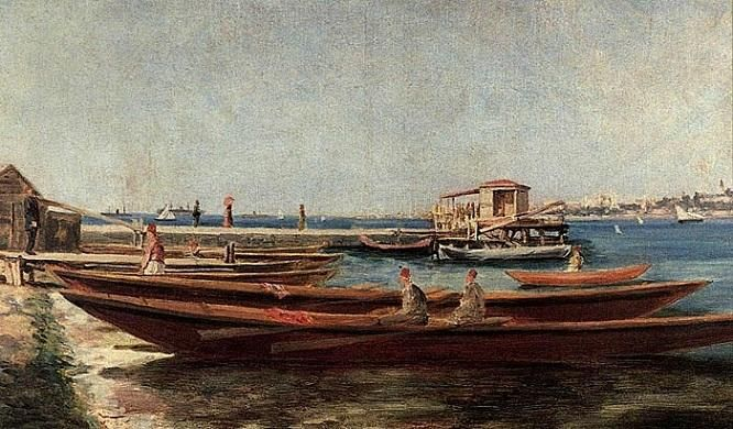 "Süleyman Seyyid'in ""Kayıklar"" isimli yağlıboya tuvali,  1884 -1885.  #SüleymanSeyyid #artwork #ottomanart #fineart #painter #painting #art #sanat #resim #tablo #ressam #ottoman #yağlıboya"
