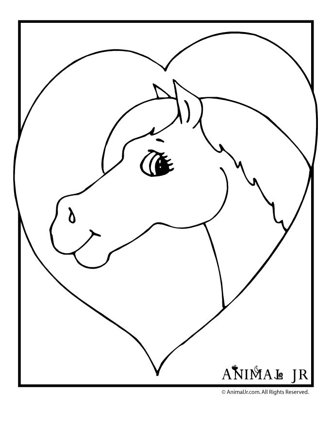 Horse Coloring Pages Horse and Heart Coloring Page