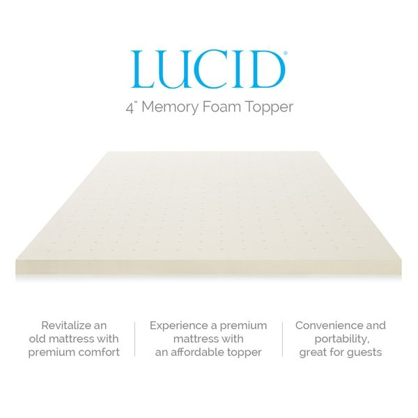 Lucid 4 Inch Memory Foam Mattress Topper