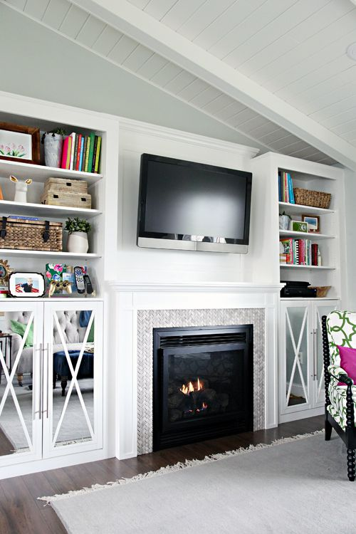 I love the fireplace and the shelf styling! 30 DIY Fireplace Built-In Tutorial
