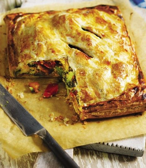 Roast vegetable and houmous pie | Crispy puff pastry encases roast vegetables and houmous in this easy-to-make pie that costs less than £5 to make.