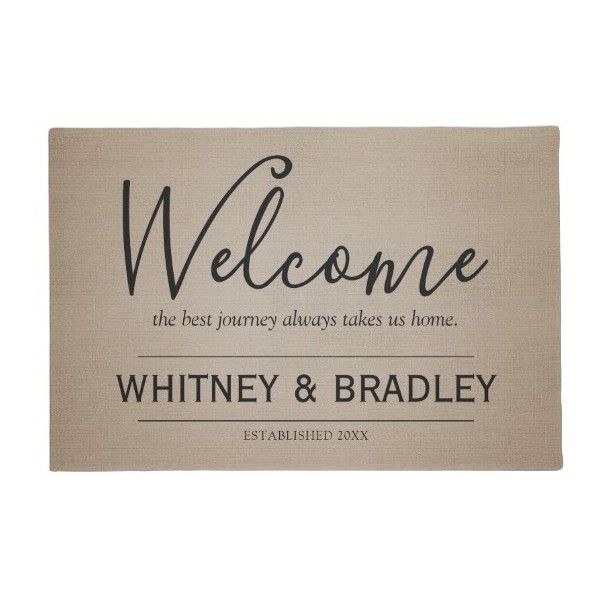 Rustic Country Personalized Name Welcome Doormat (51 AUD) ❤ liked on Polyvore featuring home, outdoors, outdoor decor, brown door mat, personalized doormats, personalized outdoor welcome mats, personalized outdoor mats and welcome door mats