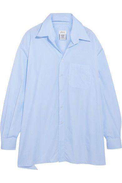 Vetements - Brioni Oversized Frayed Cotton-poplin Shirt - Light blue -