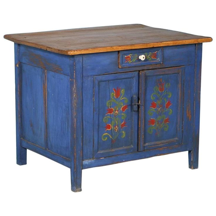 Antique Original Blue Painted Sideboard, Romania, circa 1880 | From a unique collection of antique and modern cupboards at https://www.1stdibs.com/furniture/storage-case-pieces/cupboards/