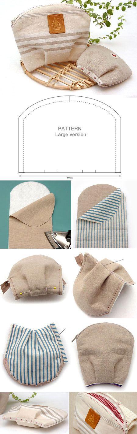 Shell Cosmetic Bag Tutorial. Sewing Pattern & Photo Tutorial.  http://www.handmadiya.com/2016/02/shell-make-up-bag-tutorial.html
