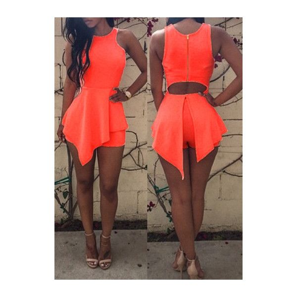 Rotita Neon Orange Round Neck Hollow Back Asymmetric Flared Romper ($18) ❤ liked on Polyvore featuring jumpsuits, rompers, orange, playsuit romper, print romper, orange romper, patterned romper and sleeveless romper