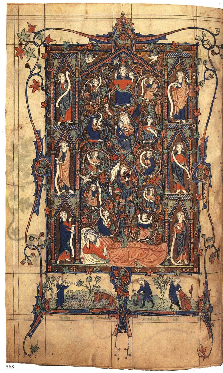 A full-page Tree of Jesse preceding Psalm 1 in the Tickhill Psalter (1303-1314?), one of the most elaborately decorated English psalters of the 13th and 14th centuries, and unrivalled in its lavish beauty by any other early 14th century manuscript, except perhaps for the Peterborough Psalter now in the Royal Library in Brussels.