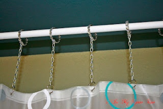 Shower Curtain Length Extenders...an idea that I think turned out pretty well.