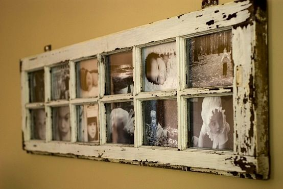 vintage window frame with baby photos