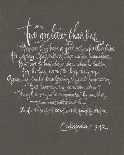 Part Of Our Wedding Scripture Ecclesiastes 4 9 12