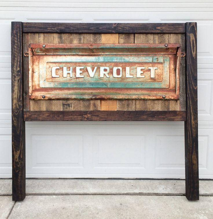 Custom built, reclaimed wood and vintage tailgate headboard. -  Nolan Woodwork    www.nolanwoodwork.com