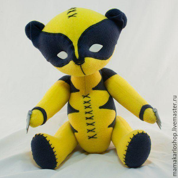 Купить Мишка Росомаха (Wolverine) - мишка, мягкая игрушка, игрушка ручной работы, супергерой, желтый