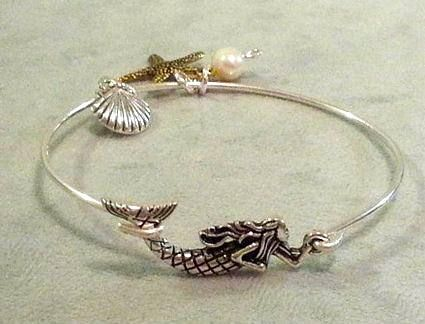 Silver Mermaid Bangle $26.00 www.mermaidgardenornaments.com - Mermaid Bracelets & Bangles