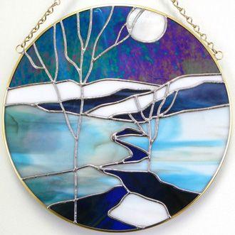Moonlit Brook in Winter