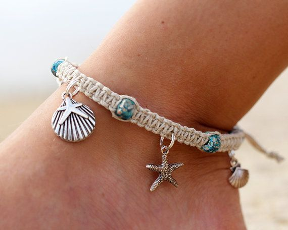 Hemp twine macrame anklet with pony beads and charms on jump rings... Can use my stars...