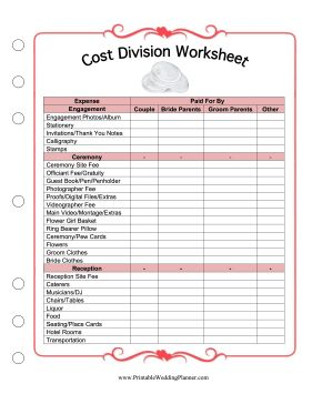 Wedding Planner Worksheets Best Free Home Design Idea Inspiration