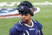 """Cleveland Indians catcher Carlos Santana. My blog post: """"It Was All Over, Including the Shouting."""""""
