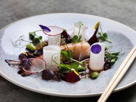 Prawn sashimi sous-vide served with fresh daikon beet, fresh soy beans with yuzu true dressing