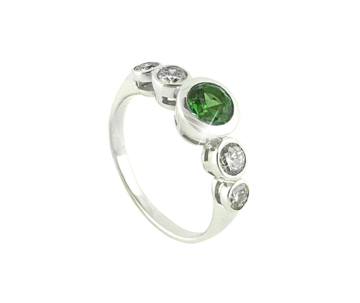 An 18ct White Gold, Diamond and Tsavorite Ring