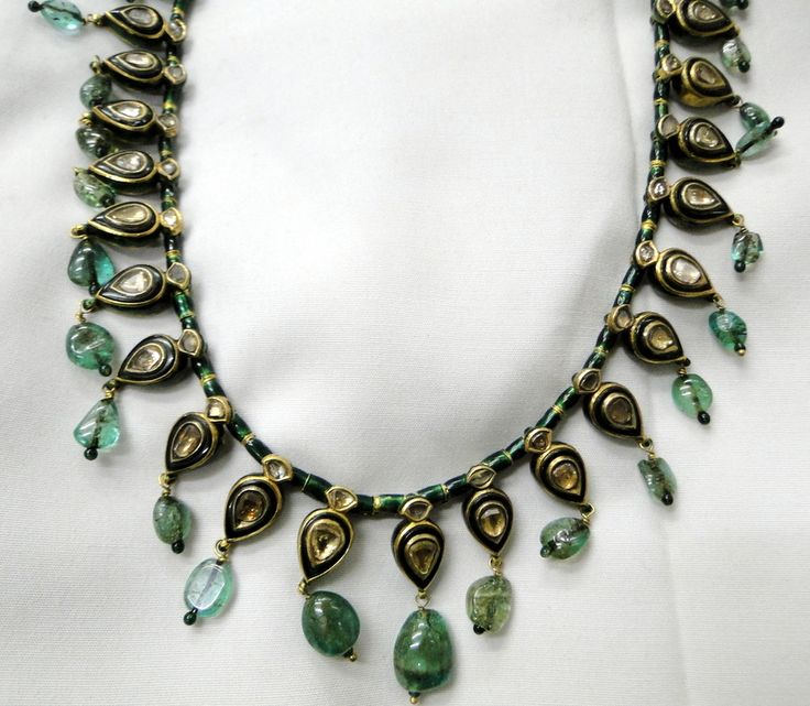 Antique mughal jewelry Kundan meena work Diamond emerald necklace jewelry - www.tribalexport.com