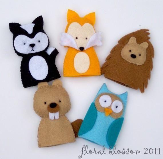 pinterest finger puppets | Woodland Creatures 01 Felt Finger Puppet