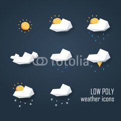 Low poly weather icons set. Collection of 3d polygonal symbols