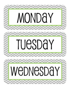 Chevron Labels for bins, calendar, whiteboard, date board, etc.Includes Monday - Friday Labels