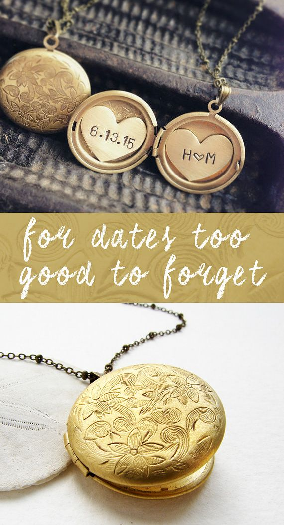 A wearable memento of days past, a special loved one or a very important date, this dainty locket holds your memories close. The round locket holds two heart charms, stamped with your custom date and initials. The antiqued silver or brass pendant is decorated in a floral motif and hangs on a dotted chain.