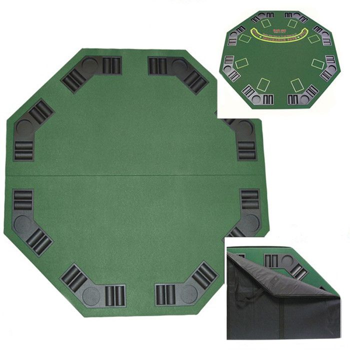 Features:  -Double sided poker and blackjack table top with Case.  -Poker and blackjack supplies not included.  -Covered with professional style green felt.  -Eight individual trays for poker chips an