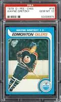 Wayne Gretzky rookie card 1979 O-Pee-Chee version printed in Canada.  Much tougher to find than the Topps version.
