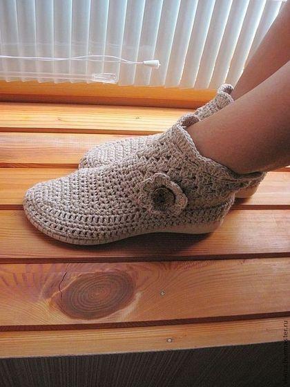 """Обувь ручной работы. Ярмарка Мастеров - ручная работа Сапожки """"Либхен на Прогулке """" лён. Handmade."""