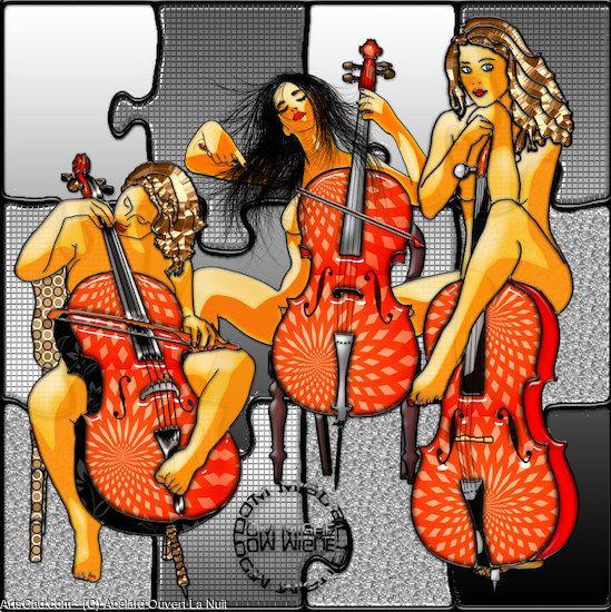 Artwork >> Abelard Ouvert La Nuit >> String Trio #artwork, #girls, #violin, #masterpiece