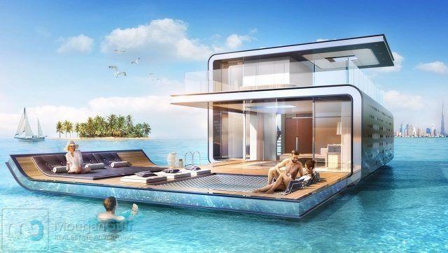 استمتع بالاقامه في فيلا عائمه على شواطئ الامارات بجزر العالم وتمتع باناقه المنظر حيث الاسماك والشعاب الم Underwater Hotel Room Underwater House Floating House
