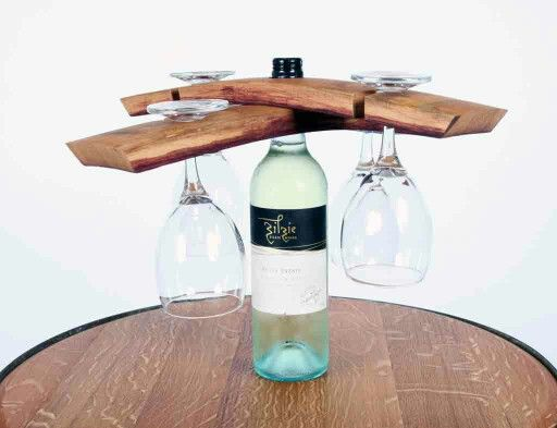 Lark and Oel Double wine holder and glasses Upcycled wine barrel