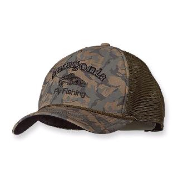 Patagonia fly fishing camo trucker hat guy stuff for Trout fishing hats