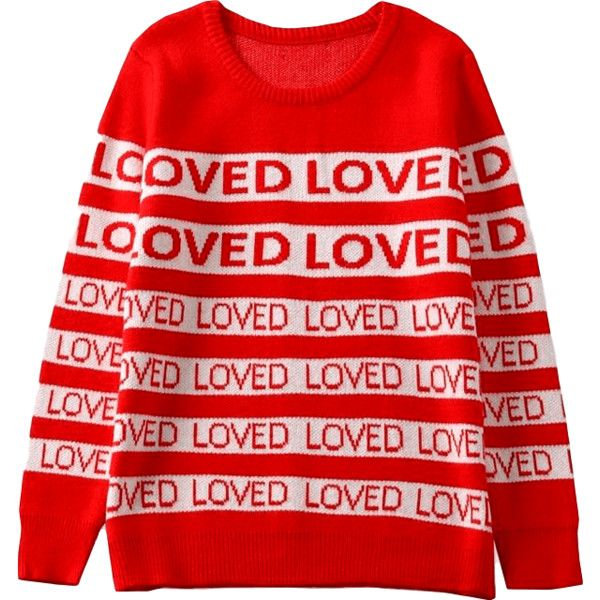 """""""Loved"""" Sweater ($75) ❤ liked on Polyvore featuring tops, sweaters, sleeve top, red top and red sweater"""