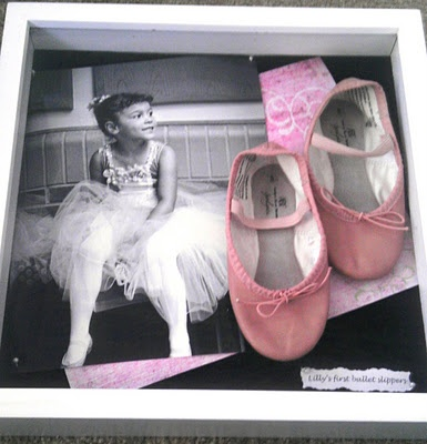 I made this for my friend with her daughter's first pair of ballet shoes (I took the photo at her first dance recital too)