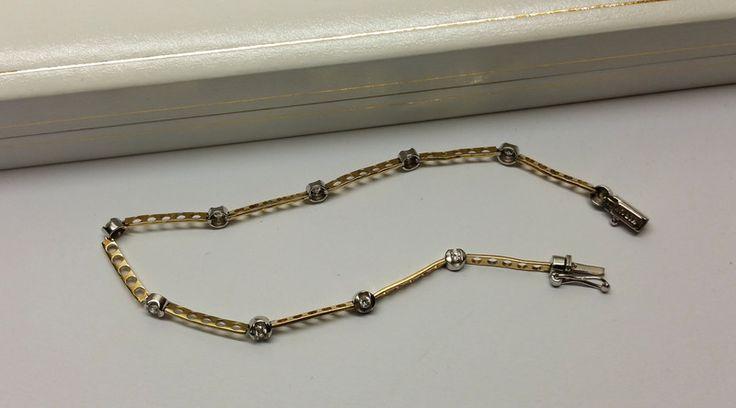 Vintage Armschmuck - Armband Gold 585 Kristallsteine Design edel GA121 - ein Designerstück von Atelier-Regina bei DaWanda
