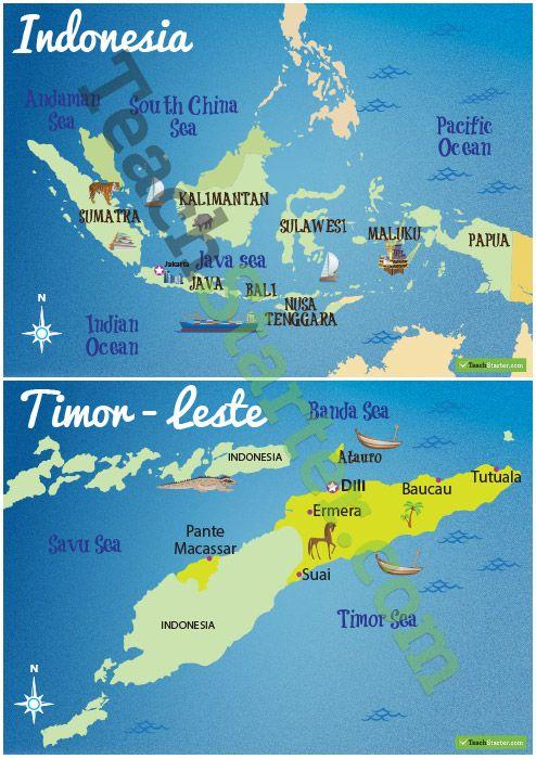 Maps of Countries Surrounding Australia Teaching Resource