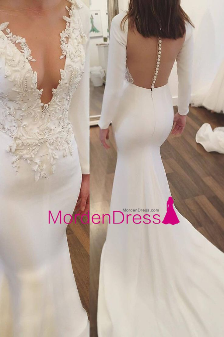 2017 Satin Wedding Dresses Mermaid Scoop With Appliques And Beads Long Sleeves