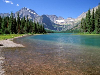 Lake Josephine, Continental Divide, Glacier National Park, Montana, US