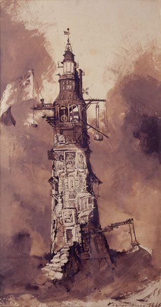 Le phare d'Eddystone 1866  de Victor Hugo  Plume et lavis d'encre brune