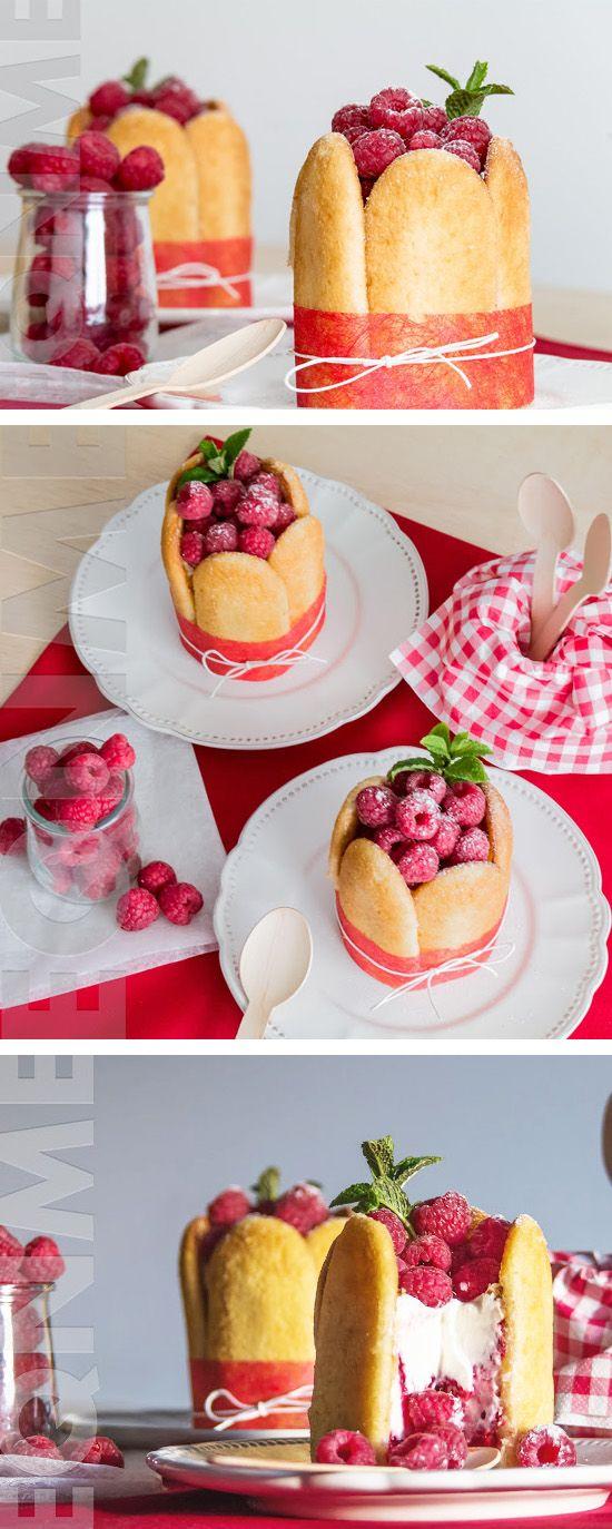 Charlota de crema de yogur y frambuesas
