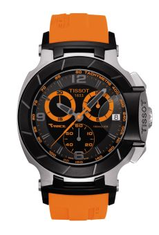TISSOT T-RACE CHRONOGRAPH GENT T048.417.27.057.04  The Tissot T-Race is a winner on and off the circuit. The bike-racing-inspired design details and dynamic style, with a little dose of flamboyancy colours, gets these models into gear and gives them an equally strong starting position. With the Tissot T-Race, Tissot's passion for motor sport is accelerating into the fashion fast lane.
